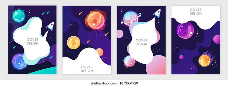 Set of cartoon space backgrounds. Templates for flyers, banners, cards, covers, frames, posters. Vector children's illustration. The rocket takes off into the sky. Planets and the universe. Game style