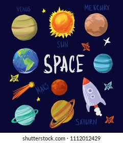 Set of cartoon space objects. Solar system. Vector illustration.