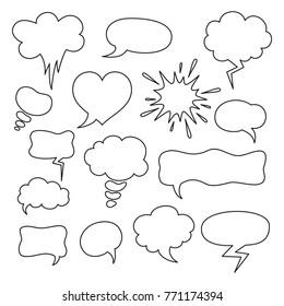 Set of cartoon speech bubbles on the white background. Vector illustration.
