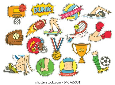 Set of cartoon sport themed patches with football, soccer, basket ball etc