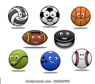 Set of cartoon sports balls equipment with a volleyball basketball soccer or football rugby ball hockey puck tennis ball, bowls and baseball for sporting logo design