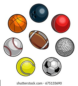 A set of cartoon sports balls icons