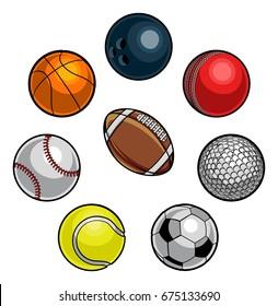 A set of cartoon sports balls icons