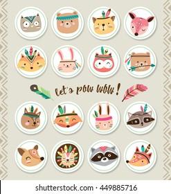 Set of cartoon sticker with woodland animals