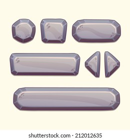 Set of cartoon stone buttons in gray colors, vector ui elements