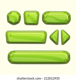 Set of cartoon stone buttons in green colors, vector ui elements