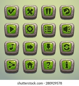 Set of cartoon stone buttons with green middle