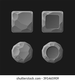Set of Cartoon stone game assets, isolated on black, vector Buttons for Web or Game Design