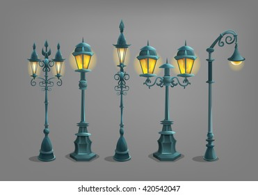 Set of cartoon street light . Vector illustration.