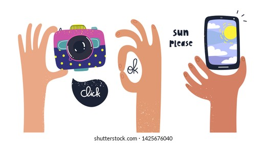 Set of cartoon style hands holding a photo camera and smartphone. Ok sign. Hand drawn vector trendy illustration. Flat design. All elements are isolated
