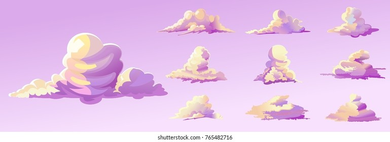 Set of Cartoon Style Vector Clouds . For Animation Background Asset Environment Game Sprite Kid Magazine Novel Cover Poster.