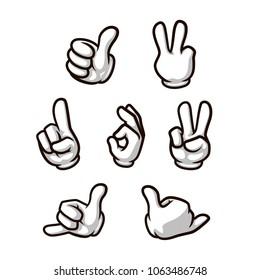set of cartoon style vector hands