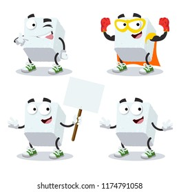 set of cartoon sugar cube character mascot on white background