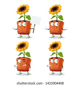 set of cartoon sunflower flower in a pot character mascot on white background