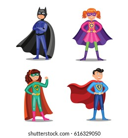 Set of cartoon super heroes. Boys and girls in superhero costumes. Children wearing colorful clothes. Vector illustration
