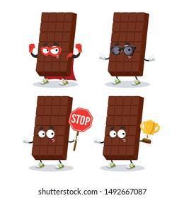 set of cartoon sweet milk chocolate bar character mascot on white background