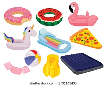 Set of cartoon swim rings. Сollection of swimming circles with various shapes of pizza, flamingos and others. Inflatable swimming gear for a summer party.  Color illustration of swim rings.