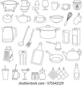 Set of cartoon tableware. Pot, pan, plate, kettle, cup, glass, fork, spoon, knife, grater, sugar bowl, pepper, salt