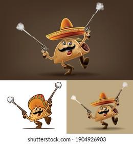 set of cartoon taco with gun and sombrero