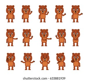 Set of cartoon teddy bear characters showing various hand gestures. Funny little bear cub pointing, greeting, showing victory, stop sign and other hand gestures. Simple vector illustration