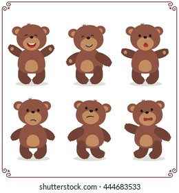 Set of cartoon teddy bear in different emotion isolated on white background.
