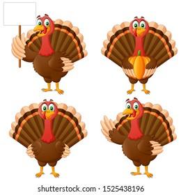 Set of Cartoon Thanksgiving Turkey Bird Mascot Character. Vector Illustration