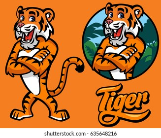 set of cartoon tiger character