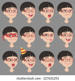 Set of Cartoon Toothless Asian Boy In Glasses Face Emotions Vector Icons