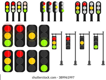 Set of cartoon traffic lights on a white background. Vector