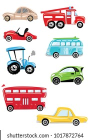 Set of cartoon transport. Collection of cars and buses. Vector illustration for children. Toys.