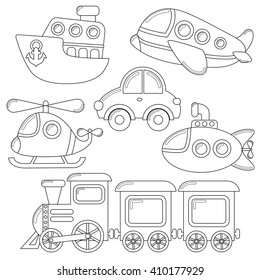 Set of cartoon transport icon. Car, submarine, ship, plane, train, helicopter. Black and white illustration for coloring book