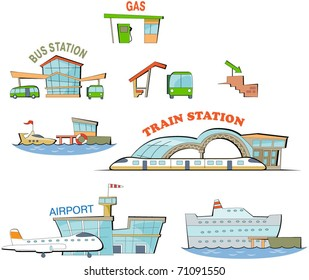 set of the cartoon transport stations: airport, train station, bus station etc. Expansion of the series.