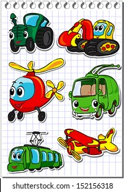 Set of cartoon transport - tractor, trolleybus, helicopter, tram, airplane and excavator. Vector illustration