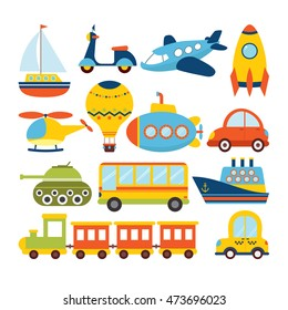 Set of cartoon transport. Transportation theme. Vector illustration