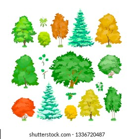 Set of cartoon trees. Cute plants, green, yellow eco aspen, maple, oak, birch trees in summer and autumn seasons, winter spruce. Ecology, pure nature, garden plant landscape. Vector illustration.