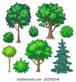 Set of cartoon trees and shrubs isolated on white background