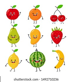 set of cartoon tropical fruit characters kawaii style isolated on white background. vector illustration.