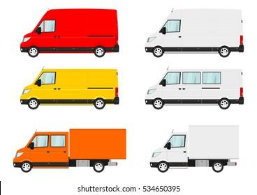 Set of cartoon van. Side view. Flat vector.