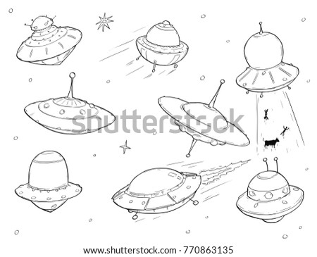 Set Cartoon Vector Doodle Drawing Ufo Stock Vector Royalty Free