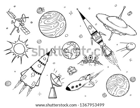 Set Cartoon Vector Drawings Space Props Stock Vector Royalty Free