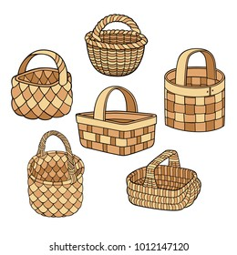 Set of cartoon vector hand drawn abstract baskets