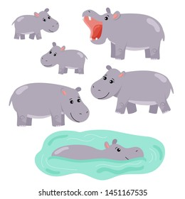 Set of cartoon vector hippo. African animals. Family hippopotamus, hippopotamus swims in the water. Isolated on white background.