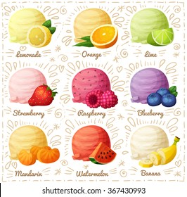 Set of cartoon vector icons isolated on white background. Ice cream scoops with different fruit and berry flavors. Lemon, orange, lime, strawberry, raspberry, blueberry, mandarine, watermelon, banana