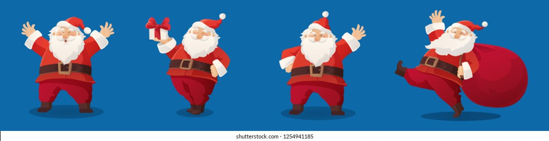Set of cartoon vector illustrations of Santa Claus. Happy Santa with gift, bag with presents, waving and greeting. Funny and cute retro character. For new year cards, banners, headers, posters.