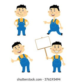 Set of cartoon vector mechanic or worker character in various poses
