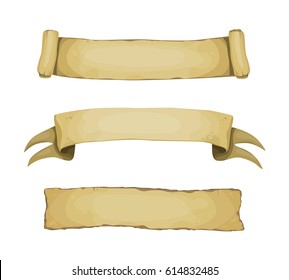 Set of cartoon vector medieval banners and scrolls on white background