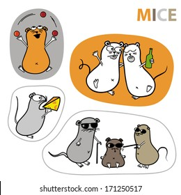 Set of cartoon vector mouse illustrations in different situations.