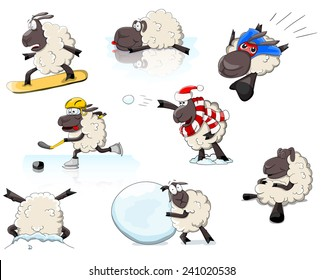 Set of cartoon vector sheeps in different positions and games