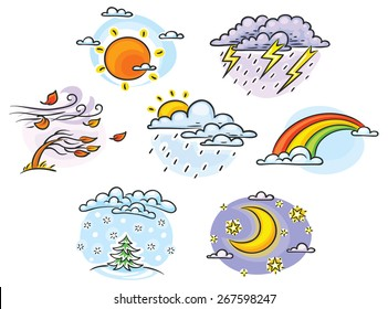Set of cartoon weather illustrations, hand drawn, colorful, no gradients