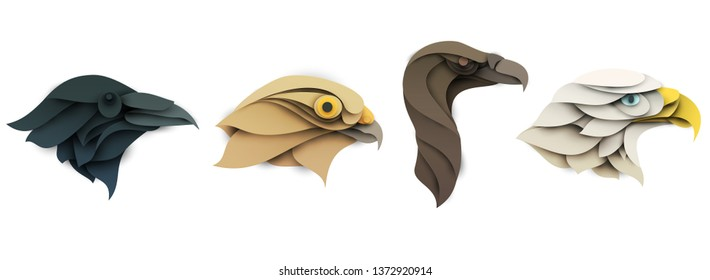 Set of cartoon wild birds head in trendy paper cut craft graphic style. Eagle, hawk, raven, griffon vulture. Modern design for advertising cover, poster, banner. Vector illustration
